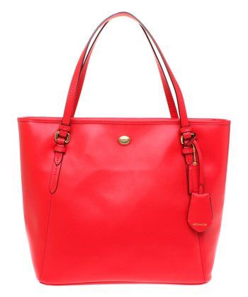 Persimmon Zip Peyton Leather Tote