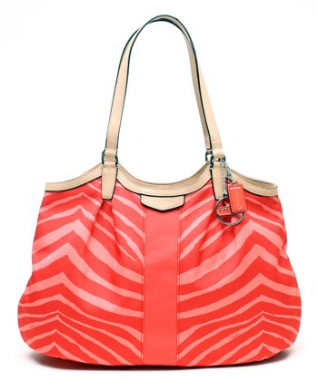 Hot Orange Signature Zebra Devin Tote