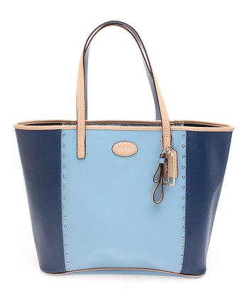 Ocean & Chambray Metro Color Block Stud Leather Tote
