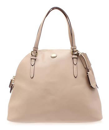Sand Peyton Textured Cora Dome Large Leather Satchel