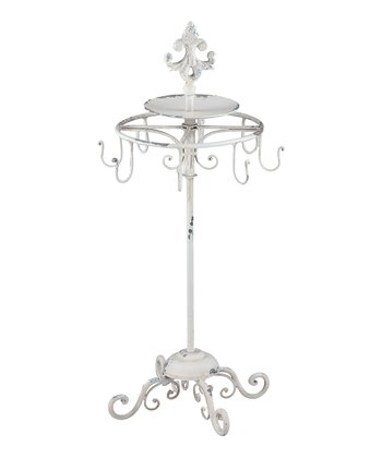 Distressed White Jewelry Display Stand