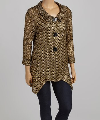 Black & Gold Squiggle Jacket - Plus
