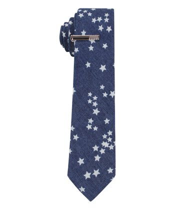 Navy Starry Night Sky Tie & Tie Clip