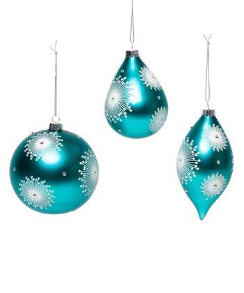 Teal Snow Burst Ornament Set