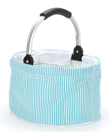 Light Blue Stripe Mini Folding Basket
