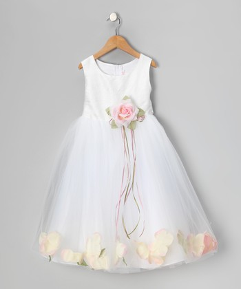 White & Pink Petal Silk Dress - Toddler & Girls