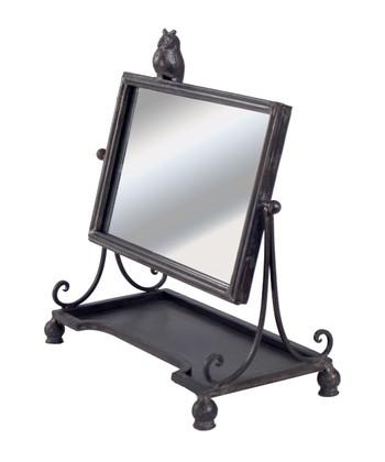 Black Owl Table Mirror