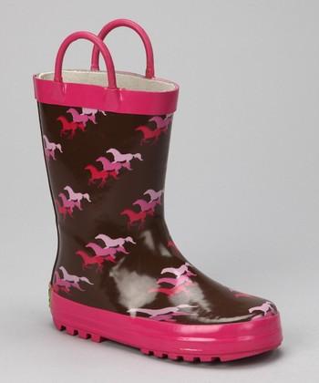 Brown & Fuchsia Horse Rain Boot