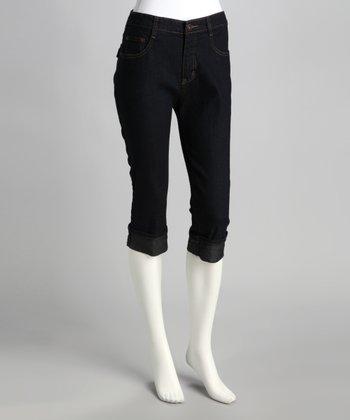 Dark Blue Cuffed Denim Capri Pants