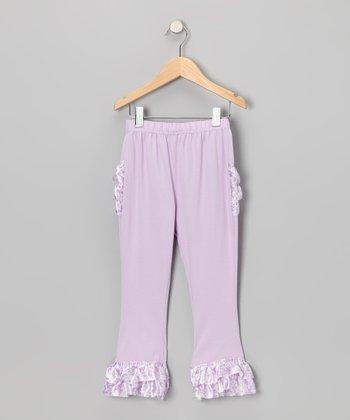 Lavender Damask Satin Ruffle Pants - Toddler & Girls