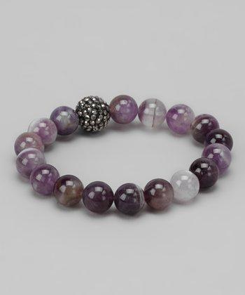 Amethyst & Crystal Stretch Bracelet