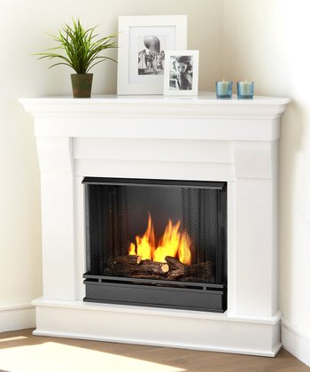 Real Flame White Chateau Ventless Gel Corner Fireplace