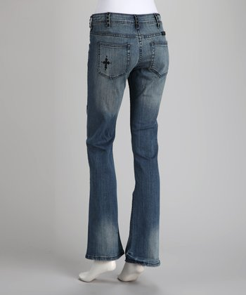 Rockstar Black Cross Bootcut Jeans - Women & Plus