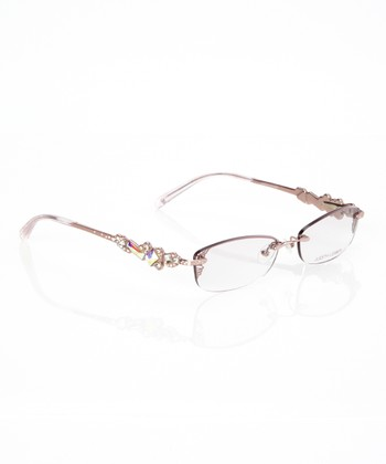 Women s Eyeglass Frames With Crystals : Judith Leiber Rose Gold Crystal Embellished Rimless ...