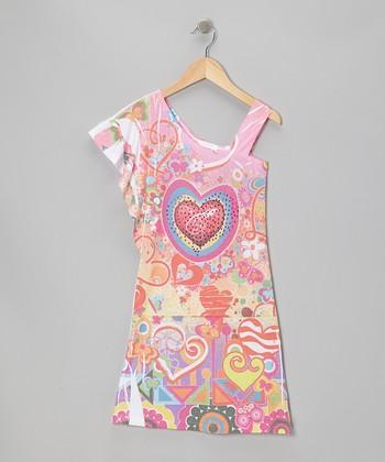 Pink Heart Asymmetrical Dress - Girls