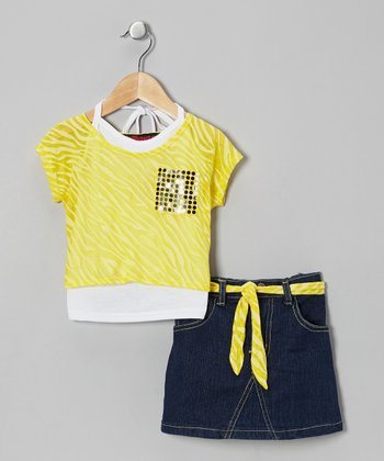 Yellow Metallic Layered Top Set - Infant & Girls