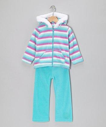 Aqua & Turquoise Zip-Up Hoodie & Pants - Infant