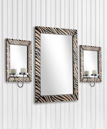 Zebra Mirror & Wall Sconce Set | zulily