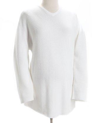 White Maternity V-Neck Sweater