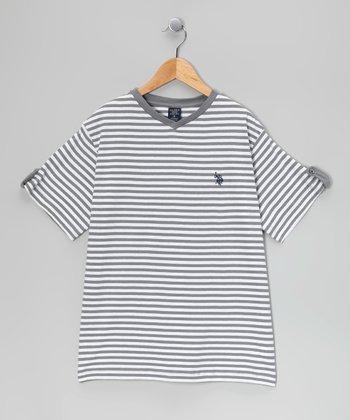 Charcoal Stripe Tee - Boys
