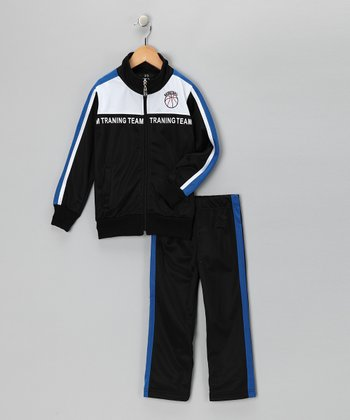 Navy & Bright Blue 'Team' Track Jacket & Pants - Toddler & Boys