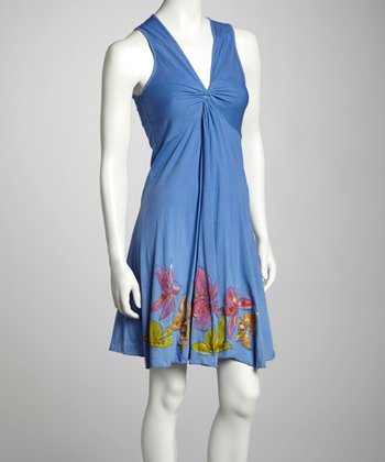 Periwinkle Floral Knotted Sleeveless Dress