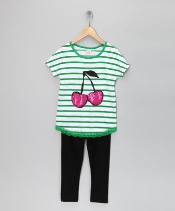 Green Stripe Cherry Tunic & Leggings - Girls