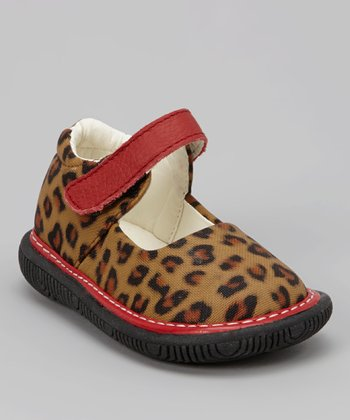 Brown Leopard Squeaker Mary Jane