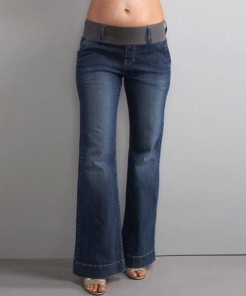 Blue Denim Megan Under-Belly Maternity Trouser Jeans