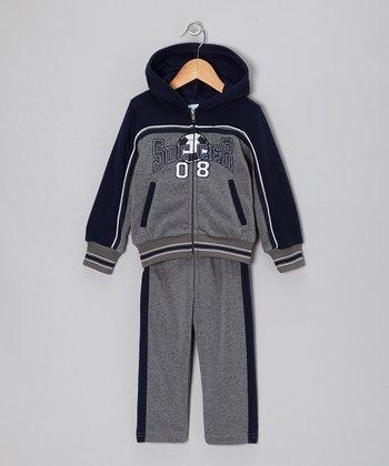 Gray & Blue 'Soccer' Zip-Up Hoodie & Pants - Toddler & Boys