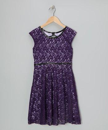 Eggplant Floral Lace Dress - Girls