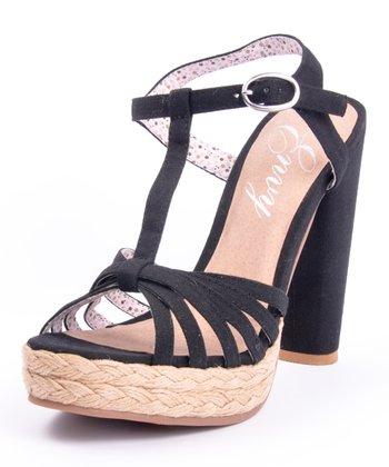 Black Be Easy T-Strap Sandal