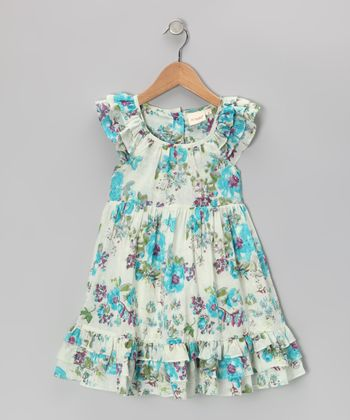 Blue Antique Floral Dress - Toddler & Girls