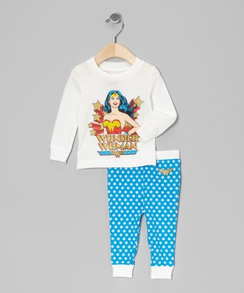 White & Aqua Wonder Woman Pajama Set - Toddler