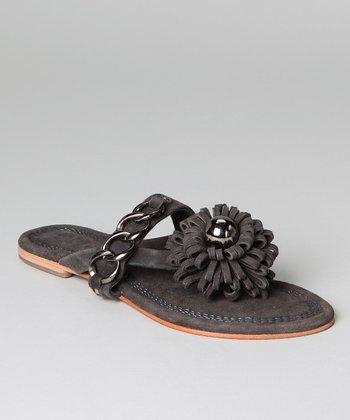 Gray Flower Leather Sandal