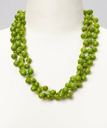 Green Bone Bead Necklace