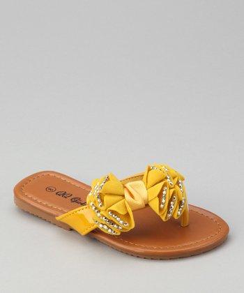 Mustard Rhinestone Bow Play Sandal