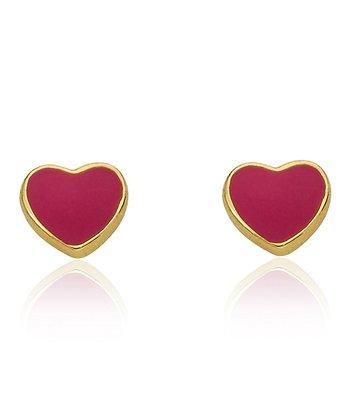 Hot Pink & Gold Heart Stud Earrings