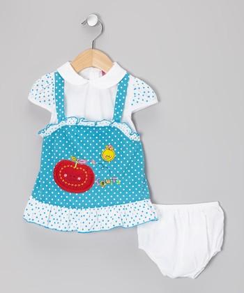 Blue & White Polka Dot Dress & Diaper Cover - Infant & Toddler