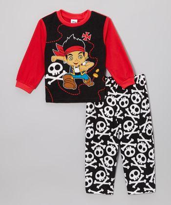 Black & Red Jake Skull Pajama Set - Toddler