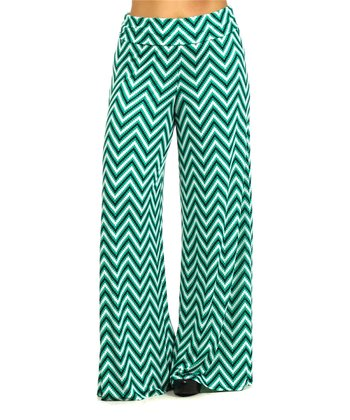Green & Black Zigzag Palazzo Pants - Plus