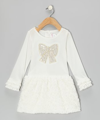 Cream Sparkle Bow Dress - Toddler