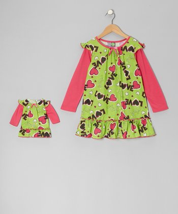 Green & Pink 'Love' Nightgown & Doll Nightgown - Girls