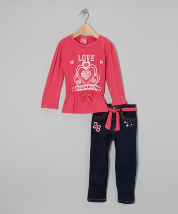 Pink Cinch-Waist Top & Jeans - Infant & Toddler
