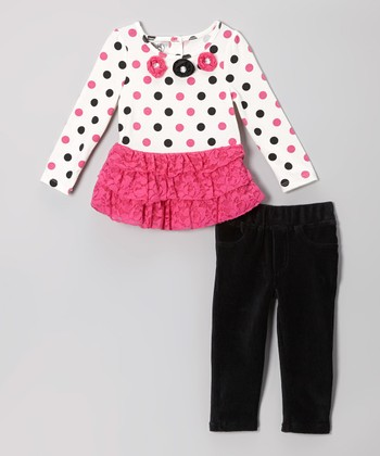 Pink Dot Skirted Tunic & Black Pants - Girls