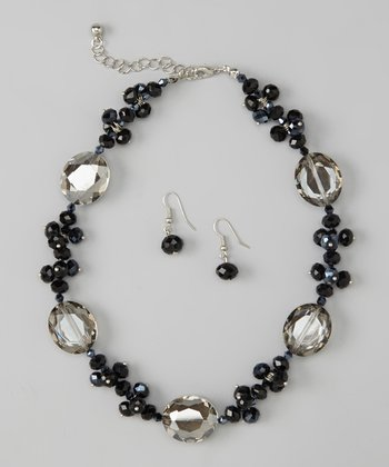 Jet Gray Crystal Necklace & Earrings Set