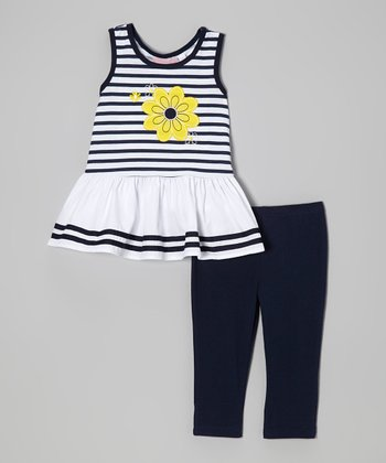 Yellow Flower Top & Navy Leggings - Toddler