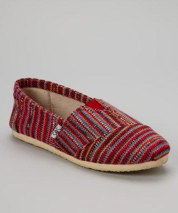 Red Stripe Knit Slip-On Shoe