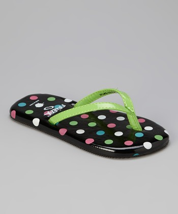 Green Polka Dot Flip-Flop