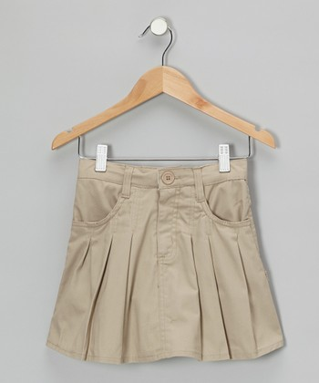 genuine school khaki box pleated skirt